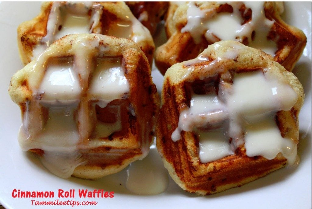 Cinnamon Roll Waffles - Tammilee Tips
