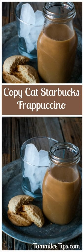 Save money by making this Copy Cat Starbucks Frappuccino Recipe at home! So easy to make and a great copycat coffee drink and sweet treat!