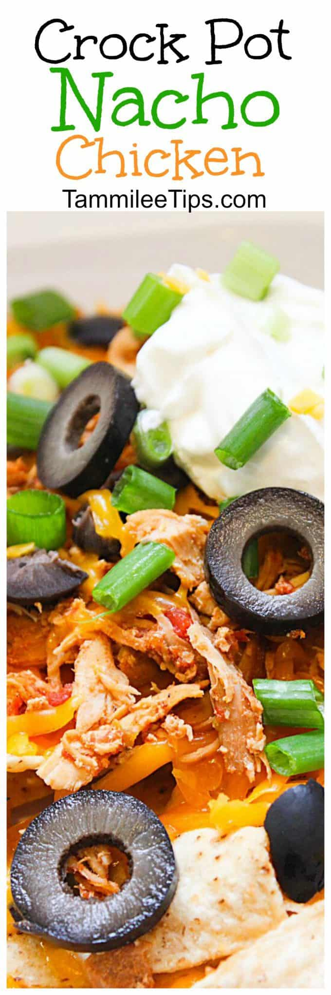 Super easy Crock Pot Nacho Chicken Recipe is perfect for Super Bowl football parties or any night of the week! The slow cooker does all the world and you only need a few ingredients. This crockpot nacho chicken also works great in burritos or tacos!