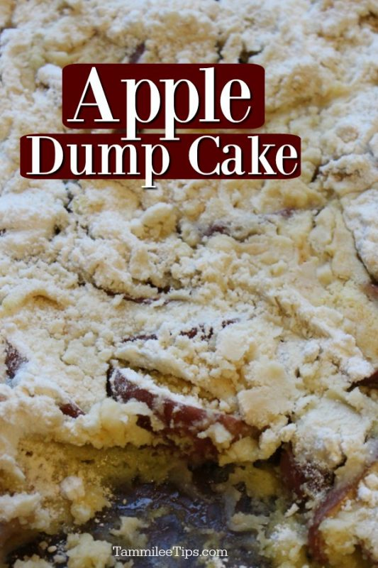 closeup of the 3 ingredient apple dump cake in a glass baking dish with a portion missing.