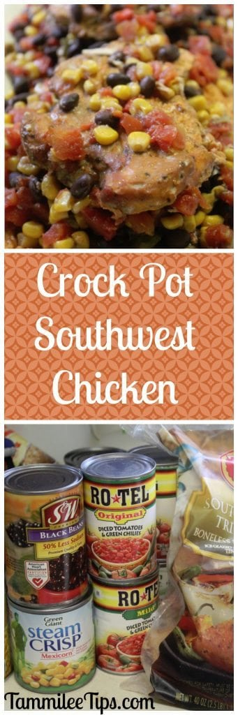 Super easy Crock Pot Southwest Chicken Dinner Recipe! This slow cooker family dinner recipe is so easy to make.