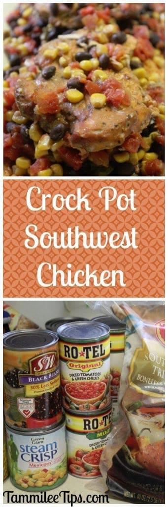 Super easy Crock Pot Southwest Chicken Dinner Recipe! This slow cooker family dinner recipe is so easy to make.