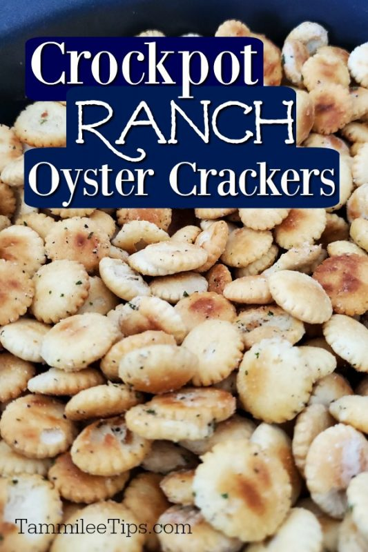 Close up photo of Ranch Oyster Crackers in the slow cooker
