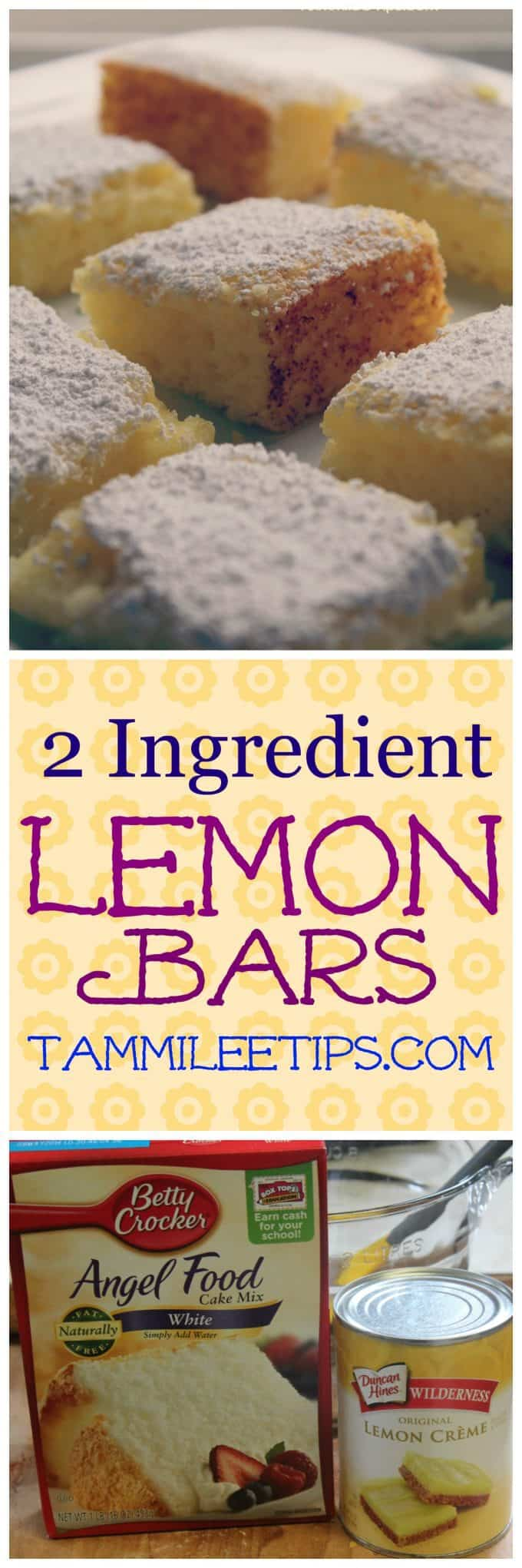 Super easy 2 ingredient Lemon Bars Recipe! No eggs, made with cake mix, and pie filling! This delicious dessert recipe is one of the best easy recipes we have made!