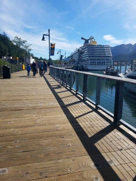 boardwalk to the carnival legend docked in juneau alaska