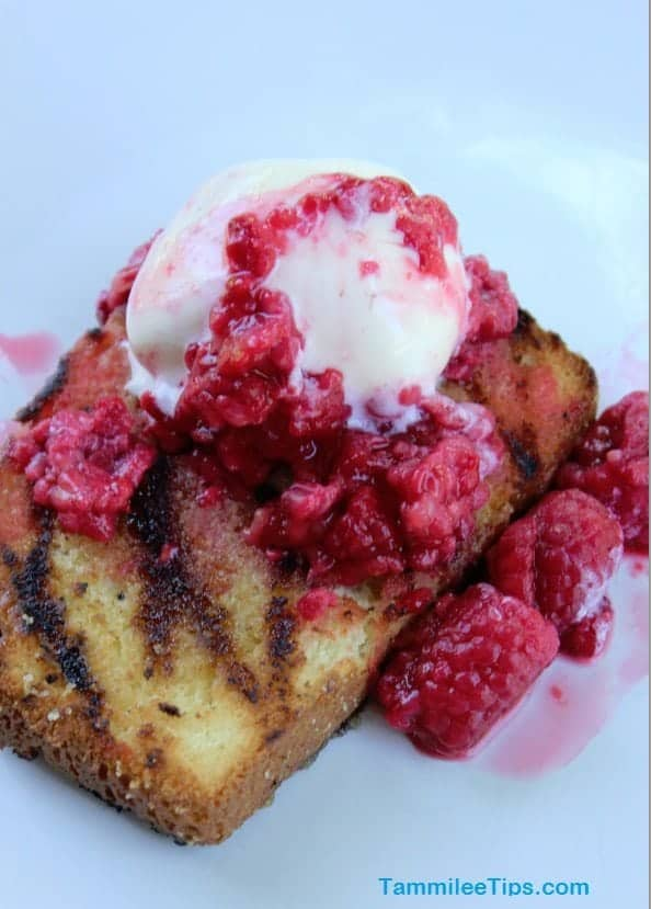 Grilled Pound Cake with Fresh Raspberries
