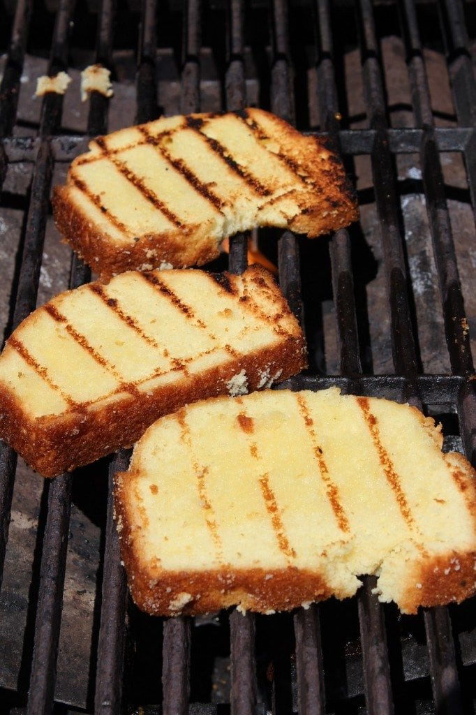... grill to around 350 degrees before placing the pound cake on the grill