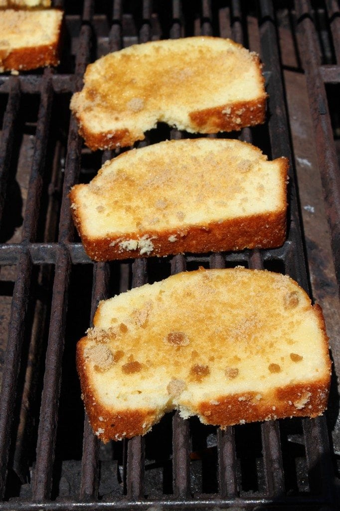 grilled poundcake on the barbecue with brown sugar