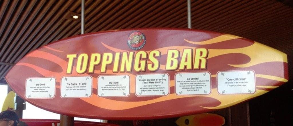 Carnival Breeze Guy Burger Topping Bar
