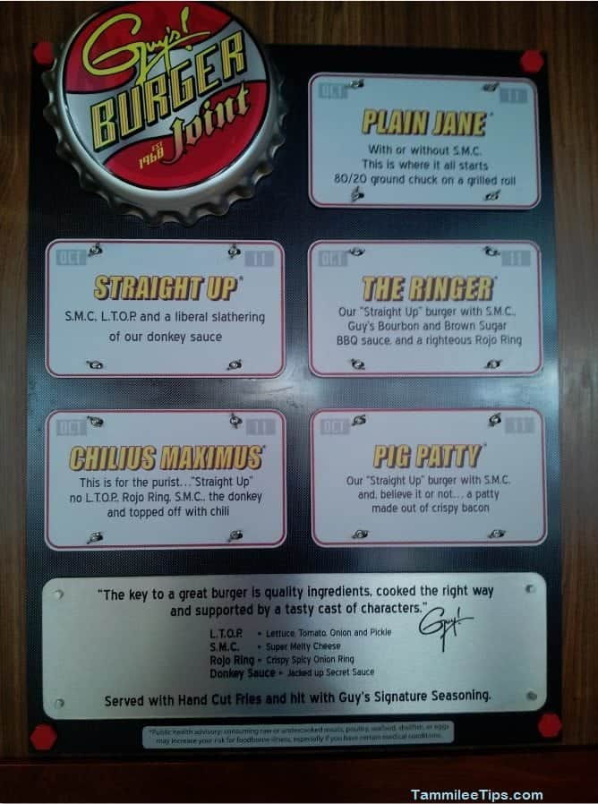 Carnival Breeze Guys Burger Joint Menu