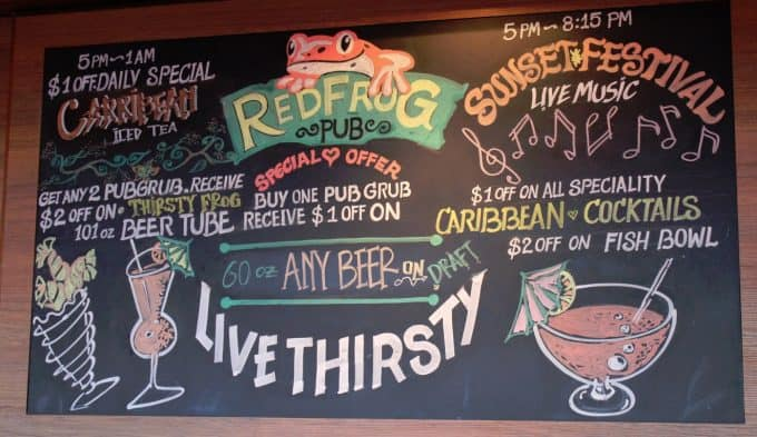 Live thirsty at the red frog pub on the carnival breeze for Restaurants with fish bowl drinks near me