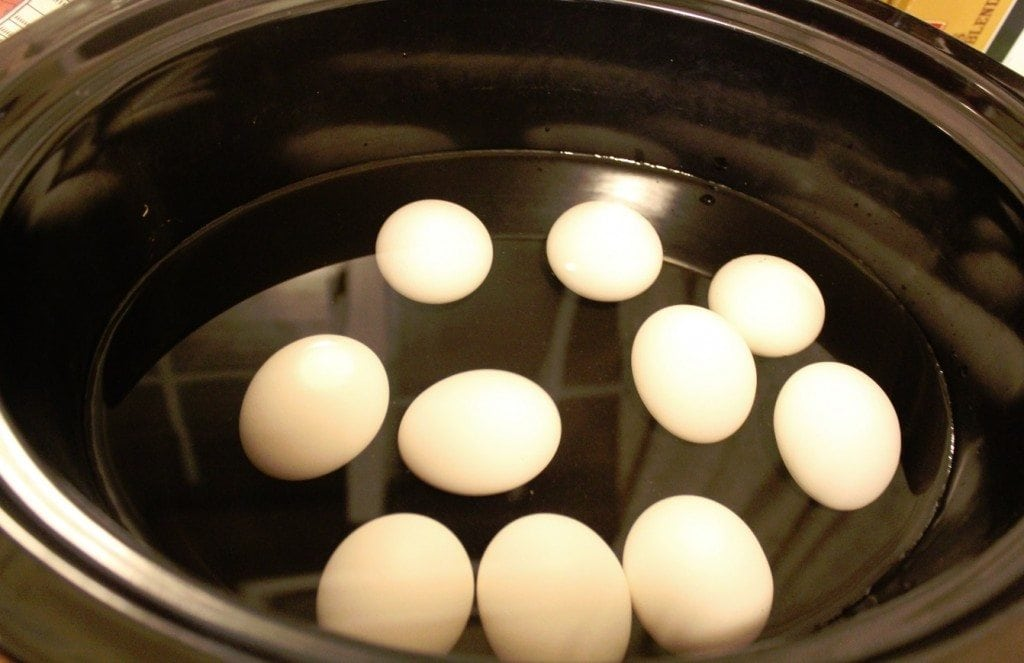 Crock Pot Hard Boiled Eggs in the crock pot