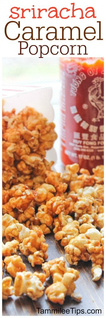 Super easy and delicious homemade Sriracha Caramel Popcorn Recipe! Perfect for a sweet spicy snack dessert treat! Valentines Day, Christmas, Super Bowl Football Parties or any day of the week.