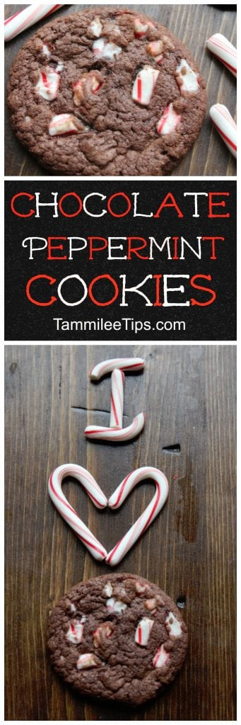 Easy Chocolate Peppermint Cookies Recipe perfect for Christmas.  All you need is a cake mix, candy canes and a few other ingredients to make these delicious chewy cookies. Perfect for Christmas, DIY Gifts, Hostess gifts or when you need a sweet dessert.