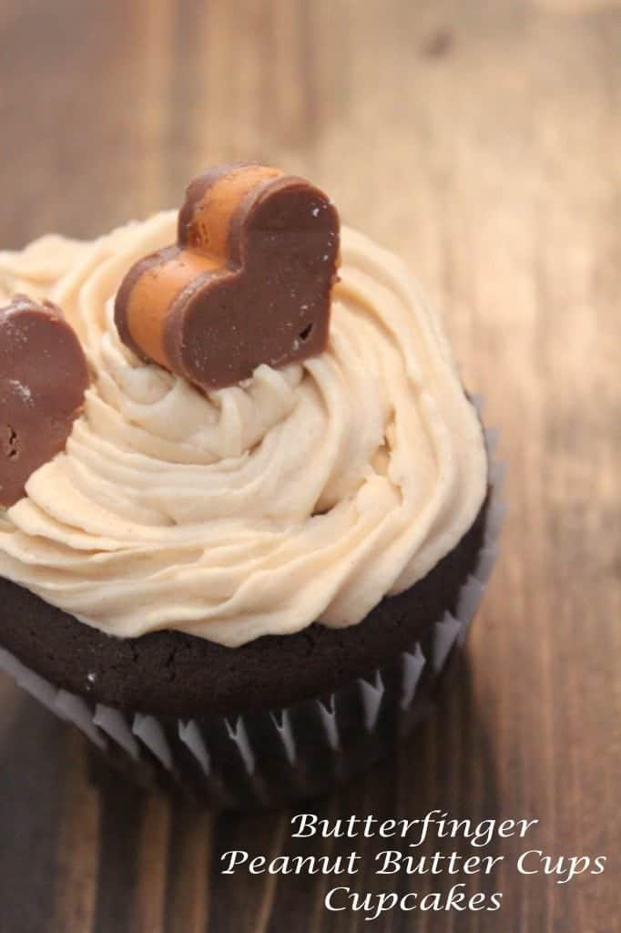 Butterfinger Peanut Butter Cups Cupcake