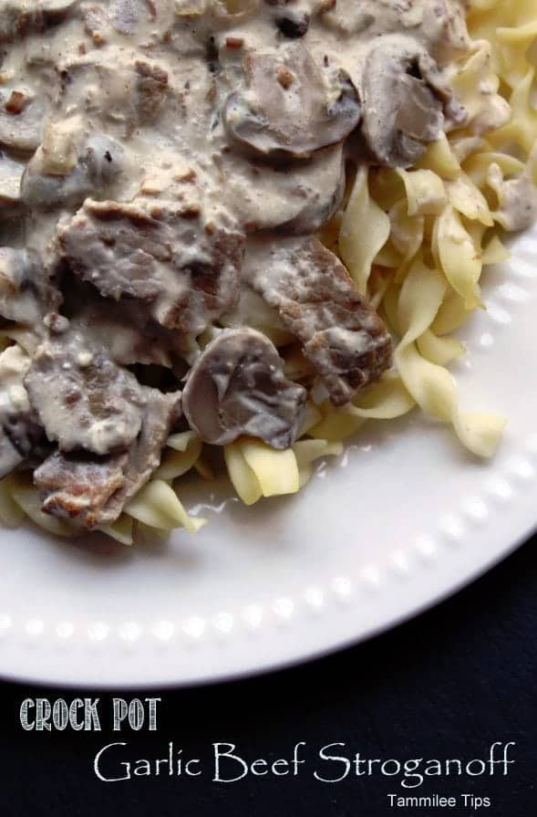 Crock Pot Garlic Beef Stroganoff