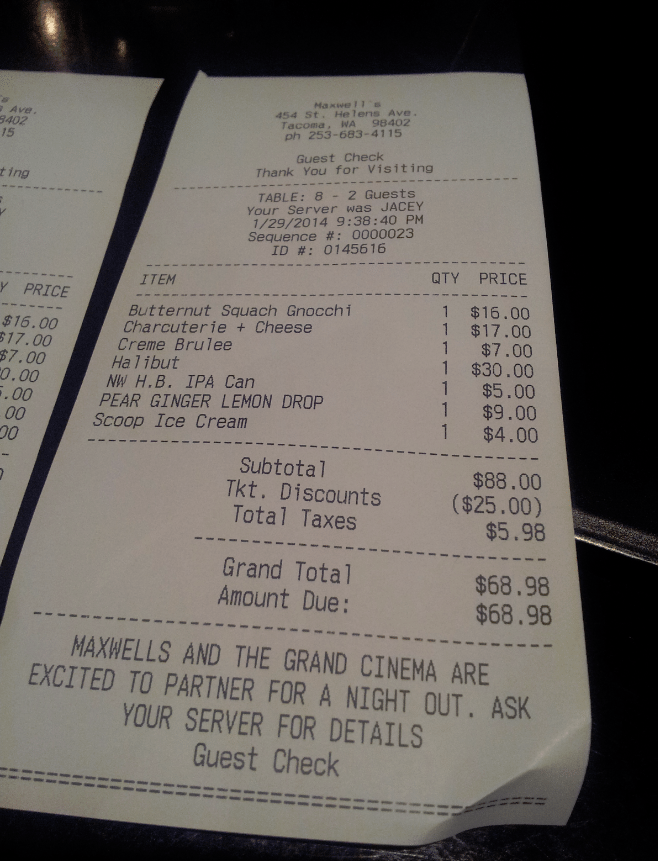 Maxwells Restaurant Receipt