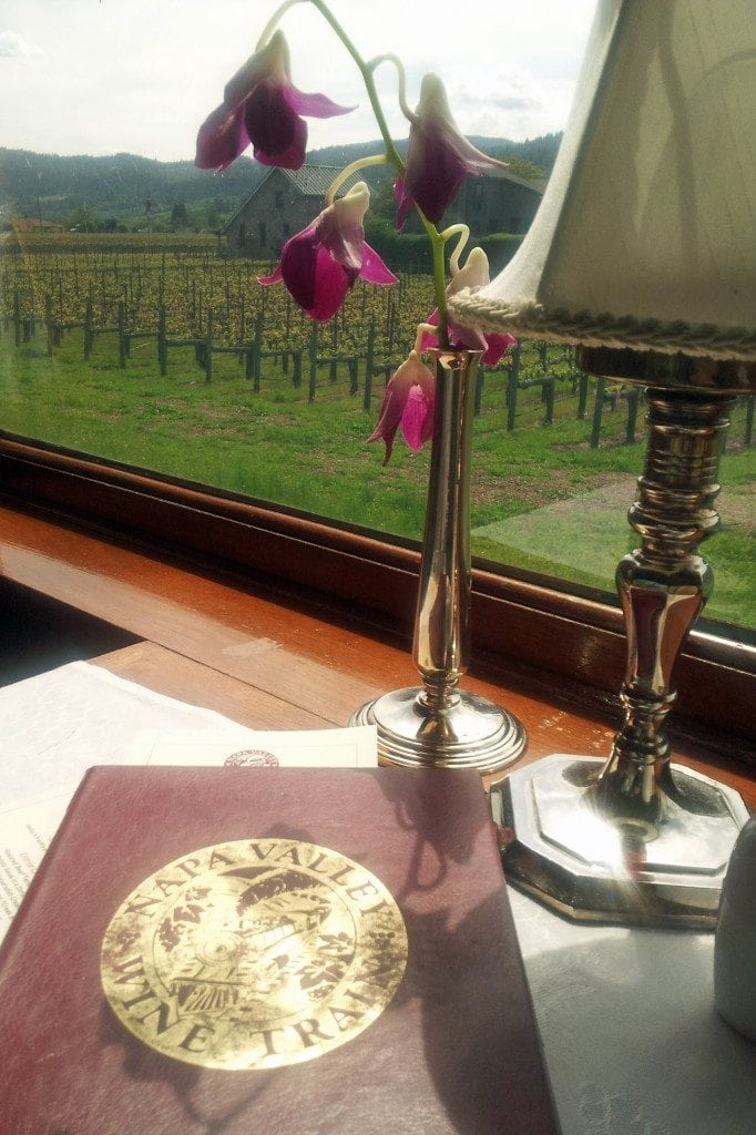 Napa Valley Wine Train dining room table