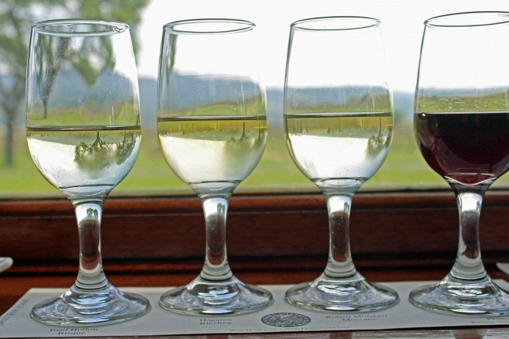 Napa Valley Wine Train wine flight