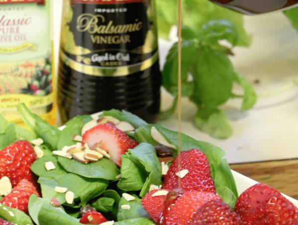 Popmpeian Strawberry Salad with dressing