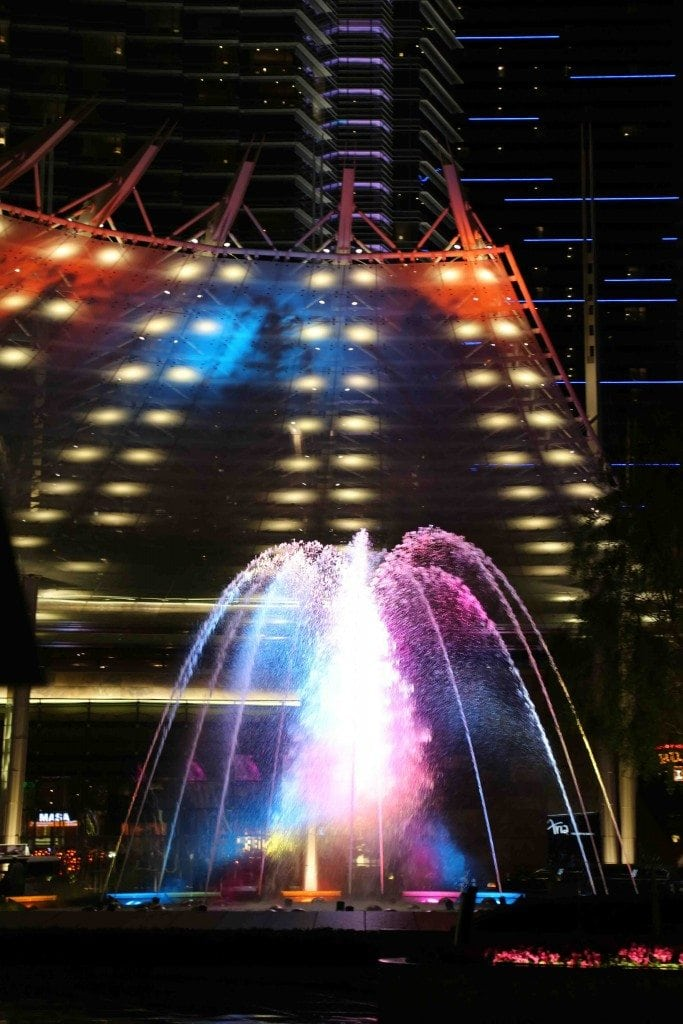 Fountains in front of the Aria Las Vegas
