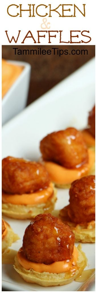 Chicken and waffles appetizer recipe with Spicy Sriracha dipping sauce!! This is the perfect easy appetizer recipe for football super bowl parties and holiday parties!