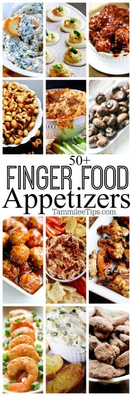 50+ Finger Food Appetizer Recipes perfect for holiday Christmas parties, superbowl football parties, birthdays and more! These recipes are easy, simple and great for a crowd! #appetizer #slowcooker #crockpot #recipes #holiday #party