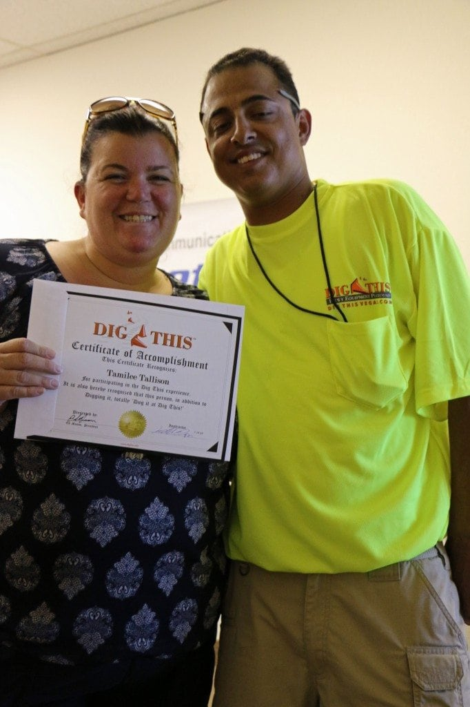 Certificate of Accomplishment at Dig This Las Vegas