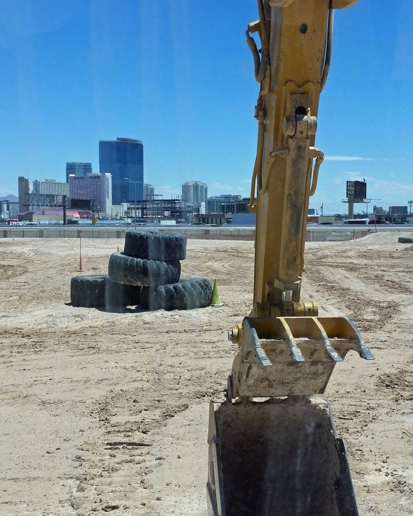 looking out the excavator at Dig This Las Vegas