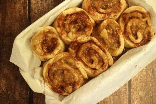 Homemade Apple Cinnamon Rolls Before Oven