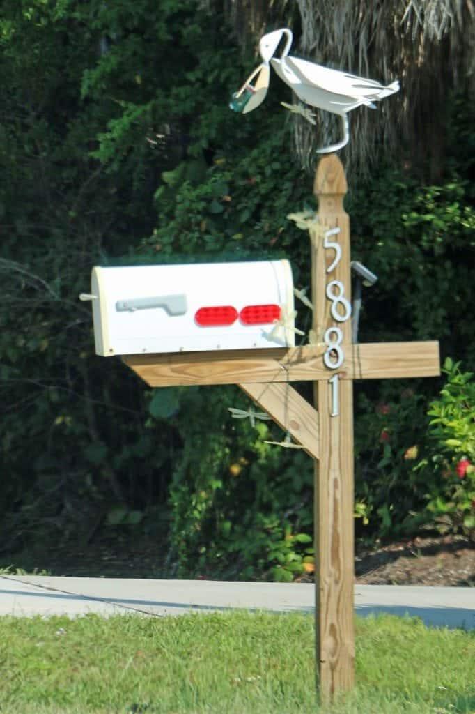 bird with fish mailbox Sanibel