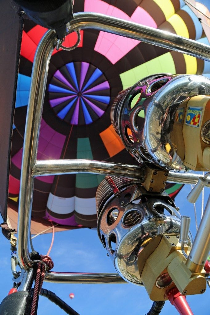 looking inside a hot air baloon at Reno Hot Air Baloon Race
