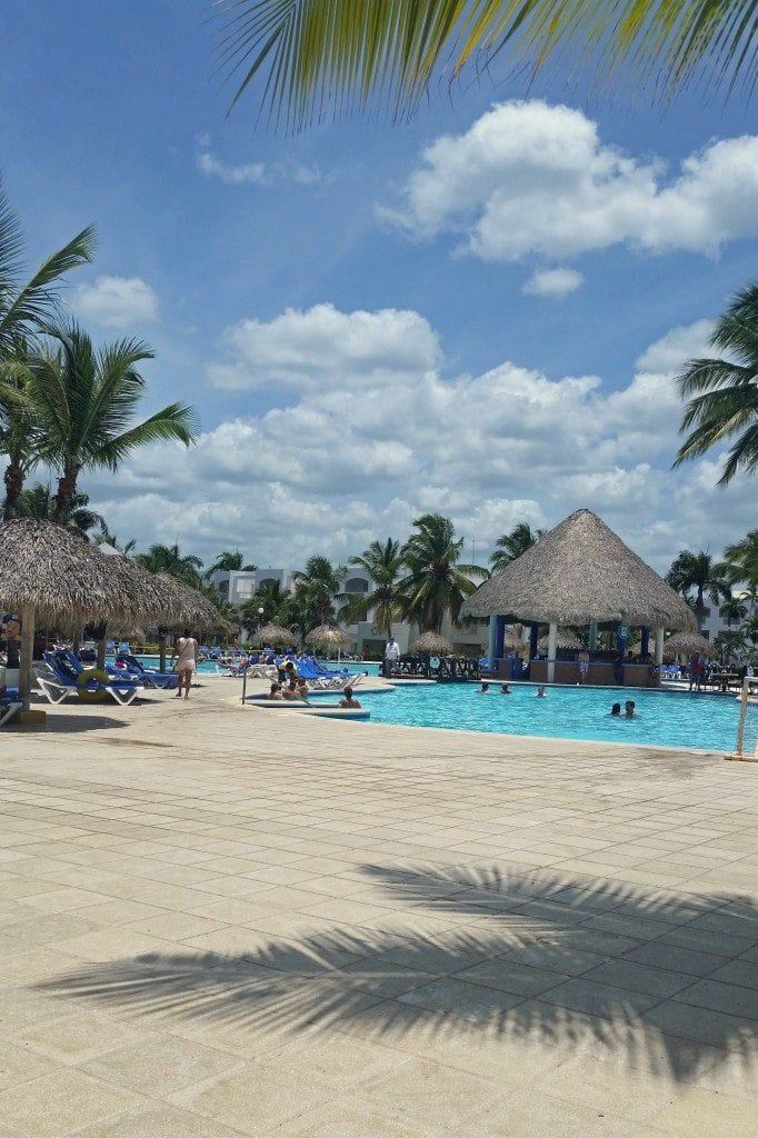 palm trees and pool at Dominician Republic