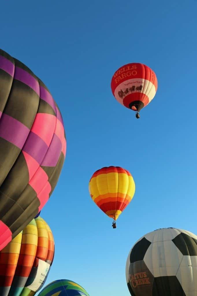 several baloons at the Reno Hot Air Baloon Race