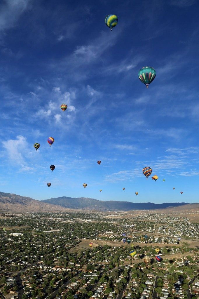 view from air in Reno Hot Air Baloon Race