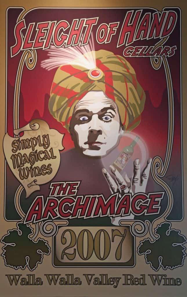 2007 The Archimage wine label at Sleight of Hand Cellars  Walla Walla Washington