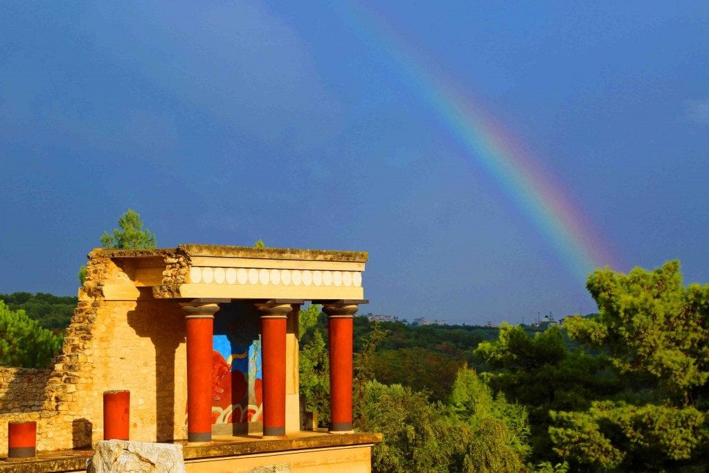 Blog Beautiful Rainbow over Minoan Ruins Crete Greece
