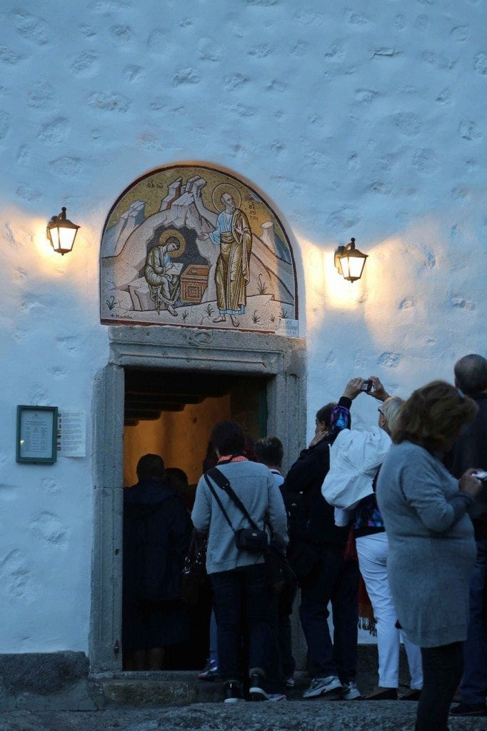 Blog entering church in Patmos Greece