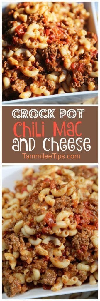 Simple, easy to make Crock Pot Chili Mac and Cheese Recipe! The slow cooker does all the work! Perfect for family dinners! Save your dishes and use the crockpot!  Hamburger, Pasta, Chili and more makes this a delicious recipe everyone will love!