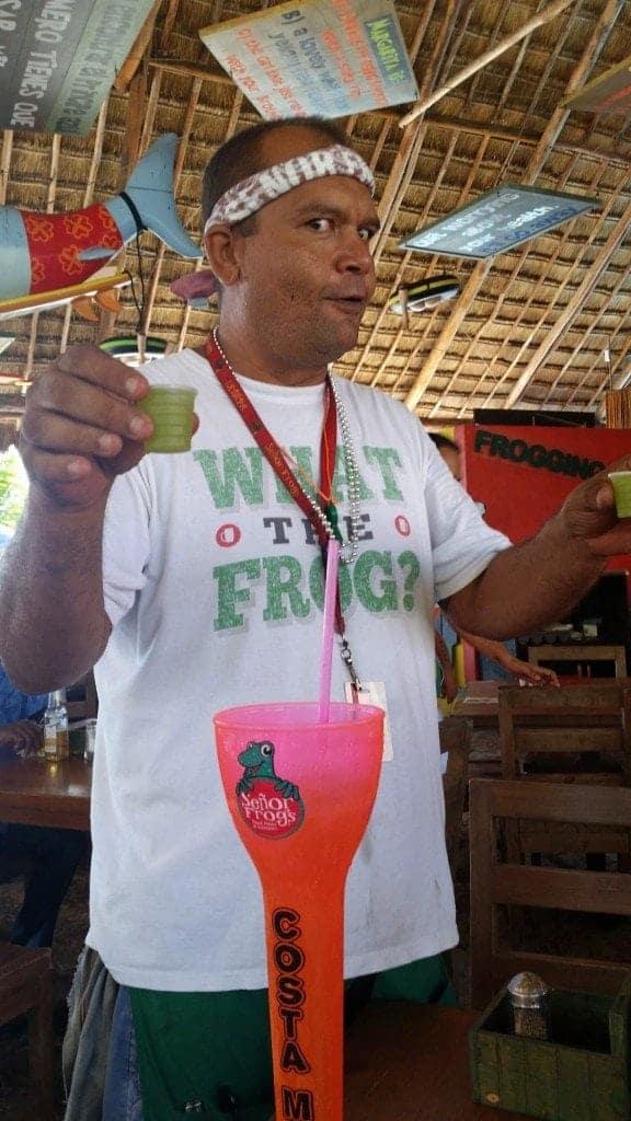 Sever at Senor` Frogs Costa Maya liked doing shots with guests
