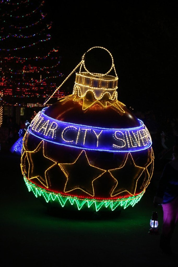 Silver Dollar City christmas ornament in Christmas Parade Branson Missouri