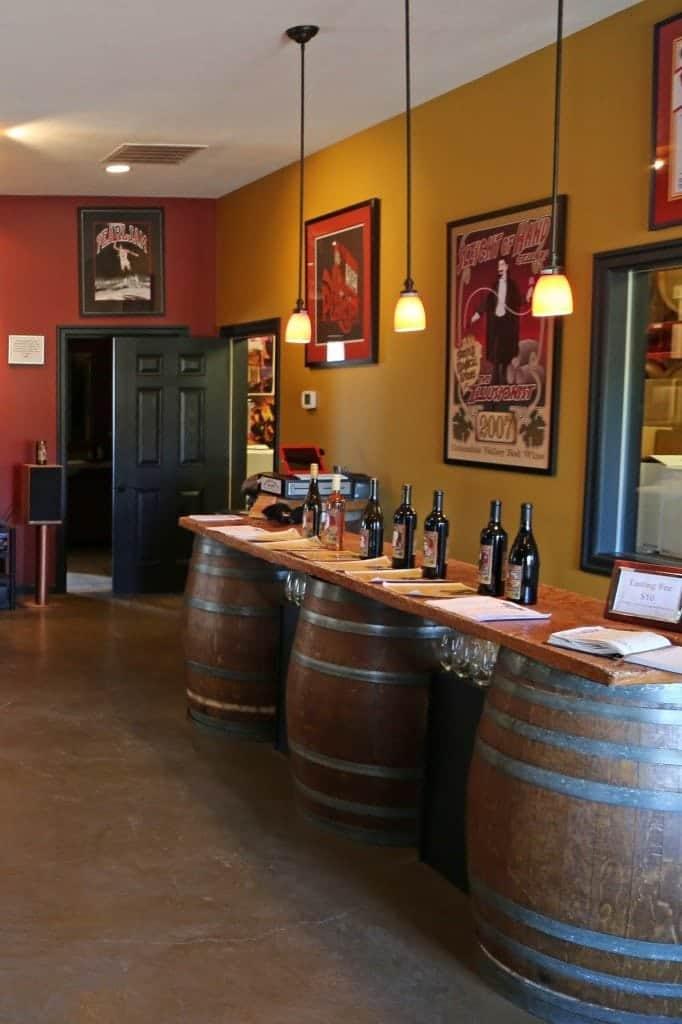 Wine tasting at Sleight of Hand Cellars tasting room Walla Walla Washington