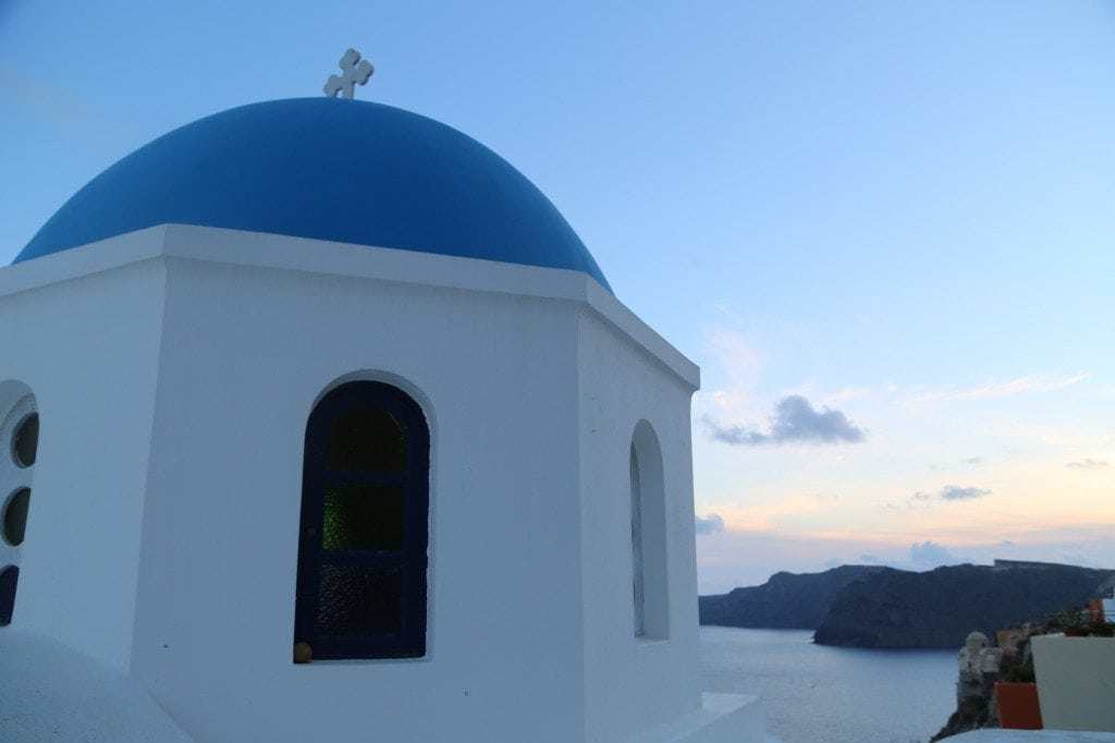 church at sunset in Santorini Greece