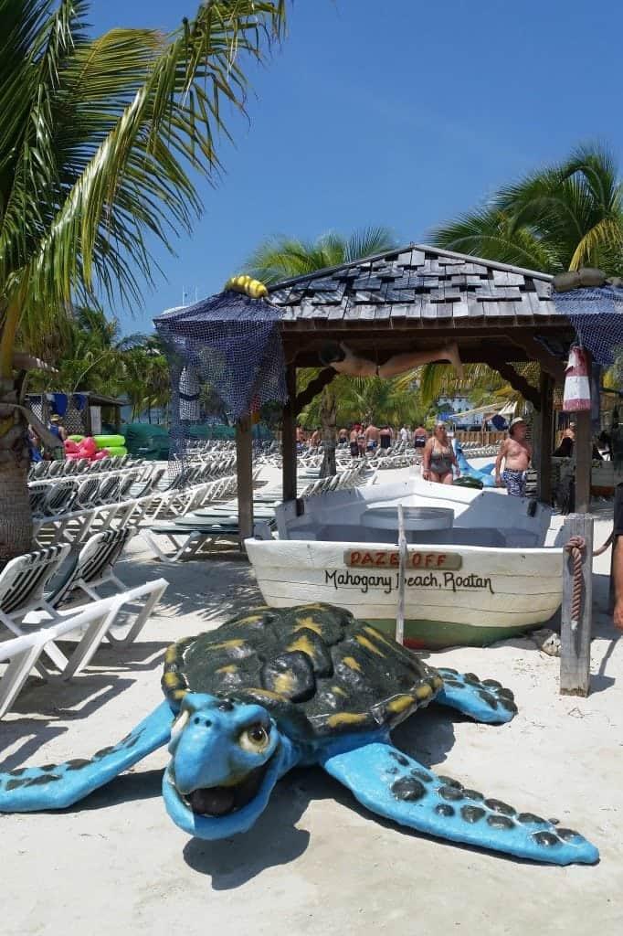 fun photo props on Mahogany Beach Roatan