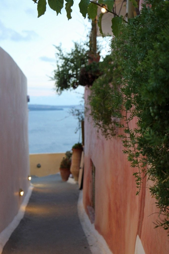 walkway in Santorini Greece