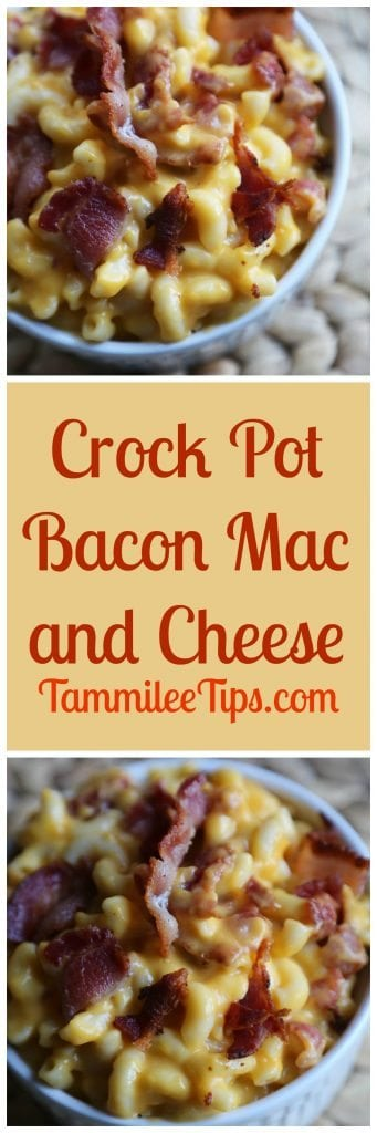 Super easy Crock Pot Bacon Mac and Cheese Recipe! Creamy, slow cooker mac and cheese with bacon you can easily make spicy if you like! Great for a crowd or family dinner!