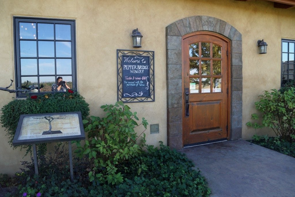 entrance to PepperBridge Winery tasting room