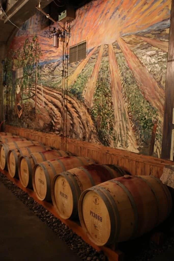 wine cellar inside PepperBridge Winery Walla Walla Washington