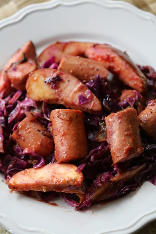 Crock Pot Kielbasa with Red Cabbage and Apples