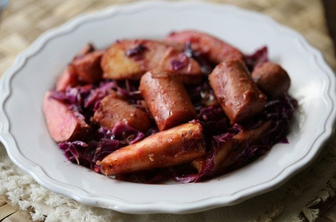 Crock Pot Kielbasa with Red Cabbage and Apples Recipe